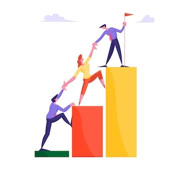 Деловая команда поднимается по диаграмме бизнесмены, взявшись за руки, поднимаются на диаграмму роста
