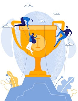 Business team climbing up on trophy cup by rope