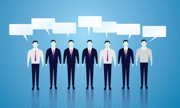ビジネスチームコミュニケーション。ビジネスマンのライン