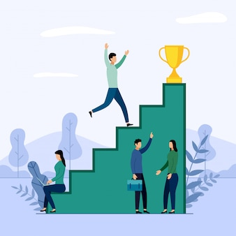 Business team and competition, achievement, successful, challenge, business illustration