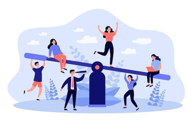 Соревнование бизнес-команд балансирует на качелях