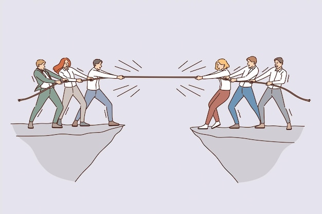 Business team and competition concept. groups of business people teams coworkers competing with rope from opposite sides of abyss vector illustration