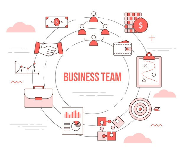 Business team concept with  set template banner with modern orange color style
