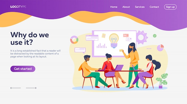 スタートアップランディングページテンプレートのアイデアを議論するビジネスチーム