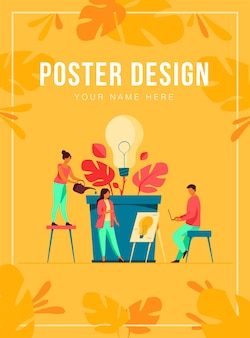 Бизнес-команда обсуждает новые идеи и инновации, шаблон плаката