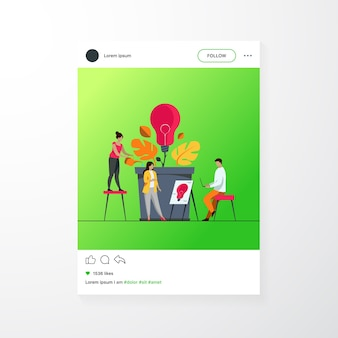 Business team discussing new ideas and innovations. group of people growing lightbulb plant. vector illustration for teamwork, ecology, innovation, growth, eco energy concept