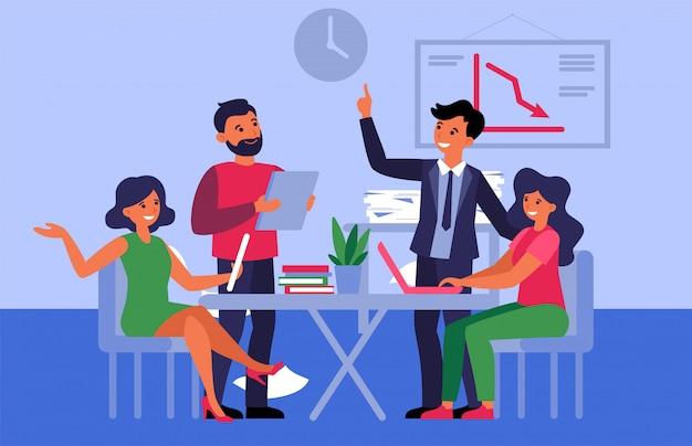 Бизнес команда обсуждает проект