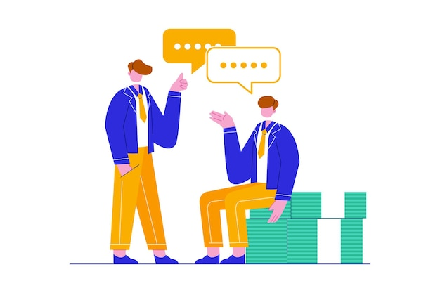 Business team discussion about financial issues vector illustration