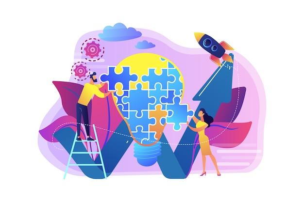 ジグソーパズルと上昇矢印から電球をやっているビジネスチーム。創造的なアイデアと洞察、概念、発明の概念