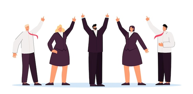 Business team and executive showing upward direction. flat illustration
