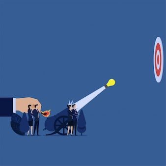 Business team fired idea to target with cannon