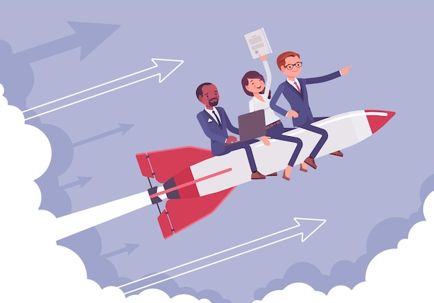 Business team go high to success on a rocket
