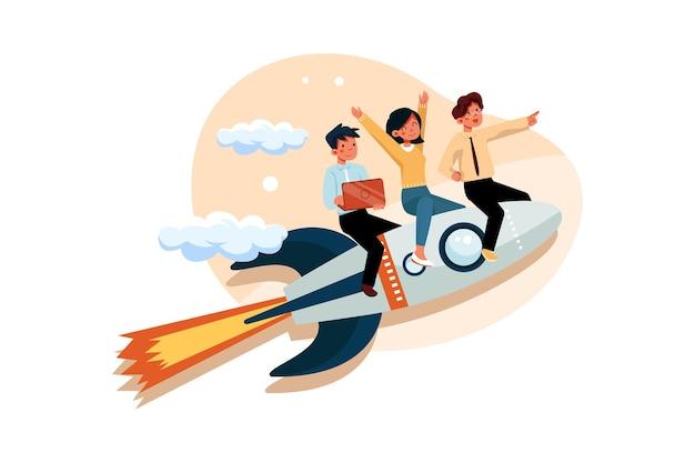 ビジネスチームはロケットで成功するために高くなります