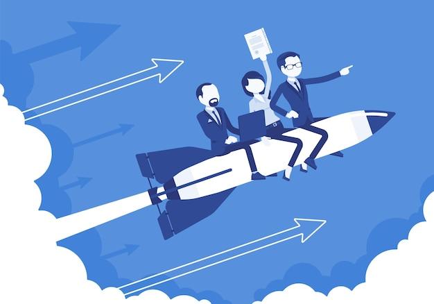 비즈니스 팀은 로켓을 타고 성공을 거둡니다. 리더는 회사를 정상으로 옮기고 수익성 있는 전략을 올바른 방향으로 발전시킵니다. 비즈니스 동기 부여 개념입니다.