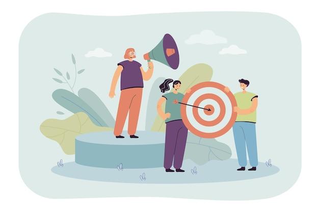 Достижение цели бизнес-команды плоская иллюстрация