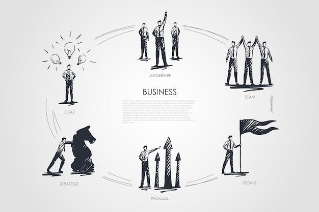 Бизнес, команда, цели, стратегия, идеи, инфографика лидерства