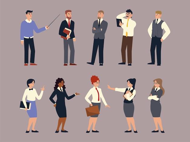 ビジネスチーム、スーツを着た人々のグループ、ビジネスの男性と女性