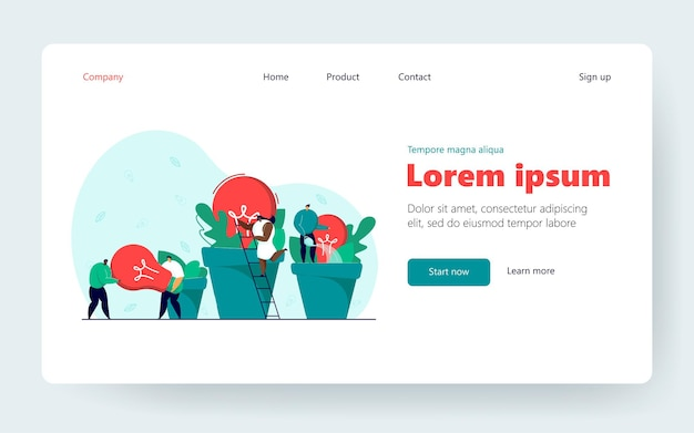 Business team growing ideas as potted plants. men carrying lightbulb, black girl climbing ladder, man watering idea plant. business, ecology, teamwork, creativity concept for banner or website design