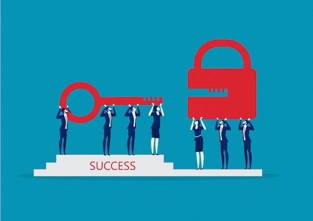 Business team hold gold key to unlock lock