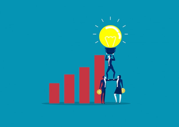 Business team holding idea light bulbs above business graph growth. concept business creative ideas vector illustration
