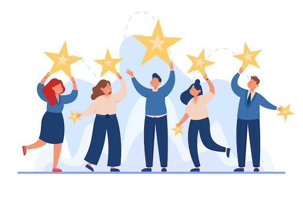 Business team holding stars in hands flat vector illustration