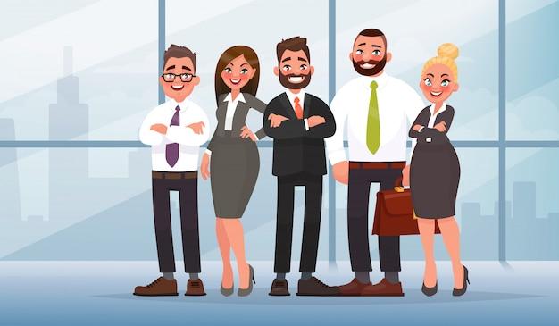Бизнес-команда в офисе с городом на спине