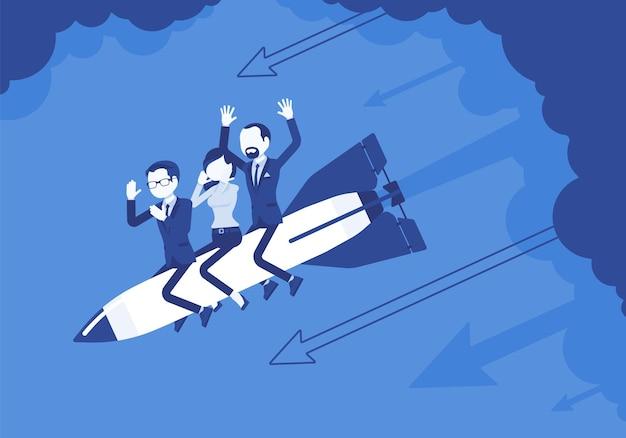절망에 빠진 비즈니스 팀은 로켓에 추락합니다. 사업 시작, 회사의 새로운 프로젝트는 실패, 재정적 실수로 끝납니다. 문제 해결, 위험 관리 개념.