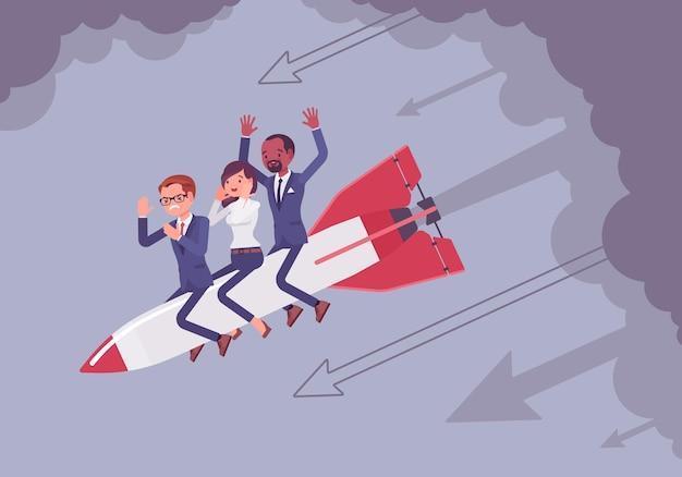 絶望したビジネスチームがロケットで降りる