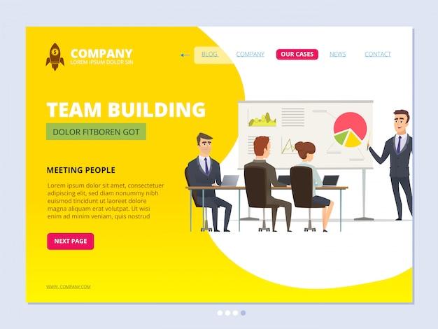 ビジネスチームの着陸。ワークスペースのwebページレイアウトを満たす会議のフリップチャートビジネスマネージャーを指して立っているディレクター