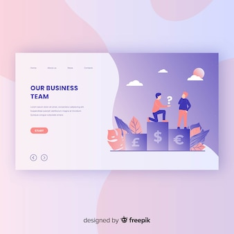 Business team landing page template