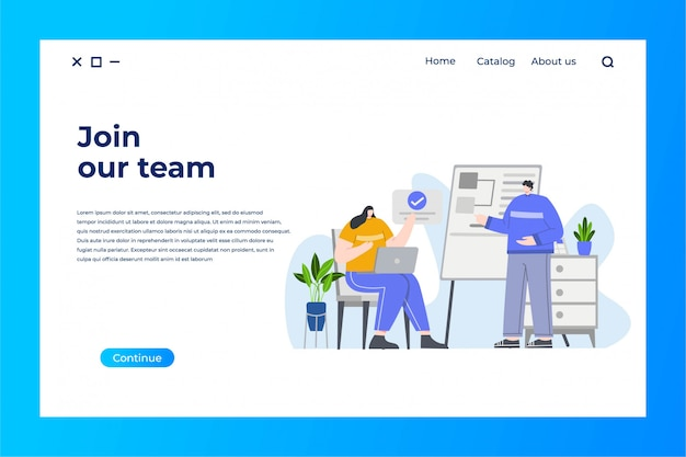Business team landing page with flat illustration