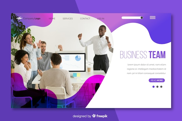 Business team landing page