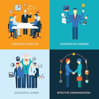 Banner di leader del team aziendale con una riunione di gestione