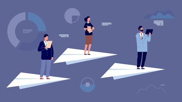 비즈니스 팀 리더. 경제 차트 사이를 비행 하는 종이 비행기에 사람들. 시작 프로젝트, 재무 관리자 또는 기업가 벡터 문자. 리더 성공, 리더십 비즈니스 팀 그림