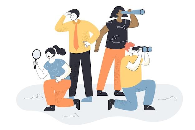 新しい人を探しているビジネスチーム。アイデアやスタッフを検索するための寓話、拡大鏡を持つ女性、スパイグラスフラットイラストを持つ男性