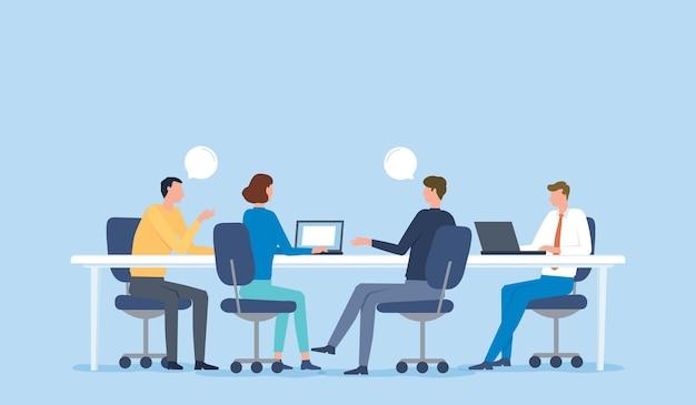 プロジェクトブレーンストーミングの概念のためのビジネスチーム会議