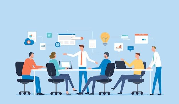 プロジェクトブレーンストーミングのためのビジネスチームミーティング