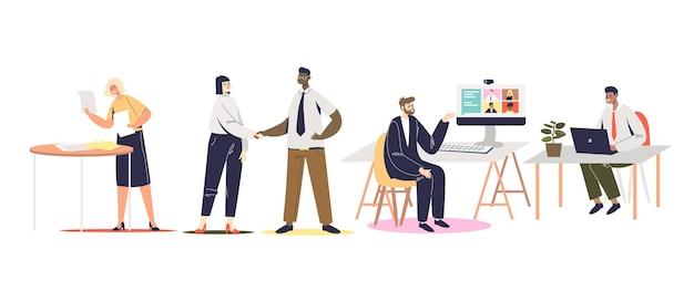 비즈니스 팀 회의: 작업, 인사말 또는 브레인스토밍하는 기업인 그룹. 만화 사업가 및 사업가 회사원. 평면 벡터 일러스트 레이 션