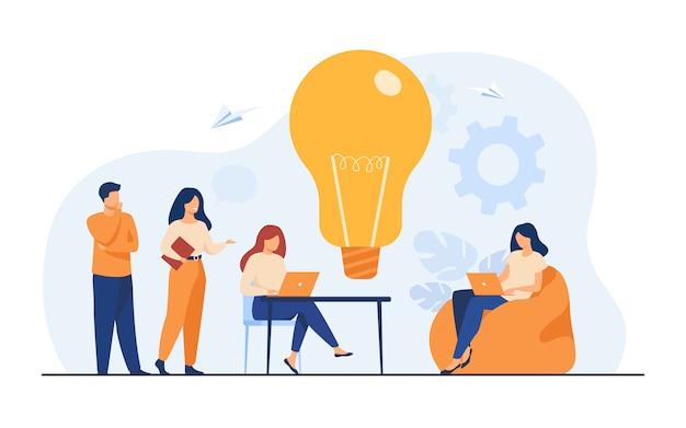 オフィスまたはコワーキングスペースでのビジネスチーム会議