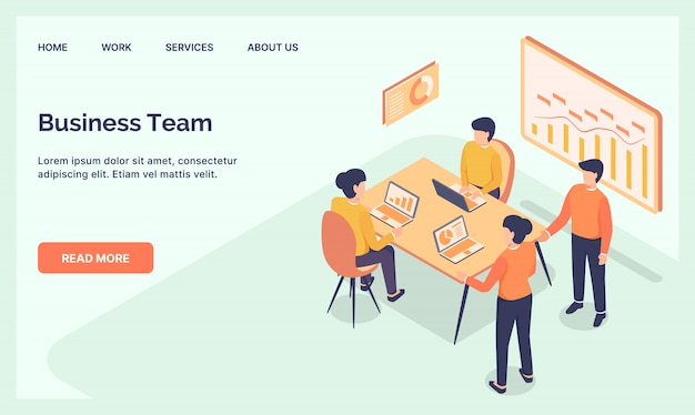 Business team meeting for website template landing homepage with modern isometric flat