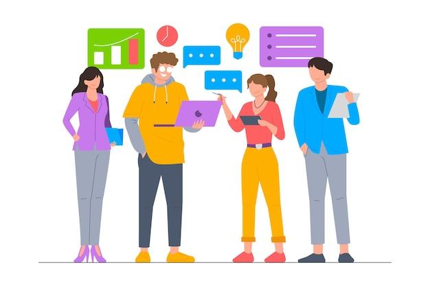 Член бизнес-команды набор векторные иллюстрации