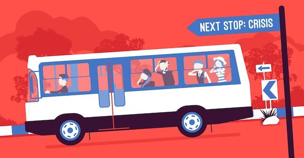 비즈니스 팀은 위기에 빠르게 이동합니다. 버스에 탄 기업인과 경제인들은 충돌 사고, 재앙, 회사 손상 및 재정적 재난으로 추락합니다. 벡터 일러스트 레이 션, 얼굴 없는 문자