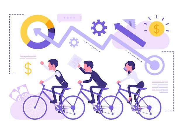 前進するビジネスチーム。従業員は組織化され、グループで協力して共通の目標を達成し、会社の生産性を向上させます。顔のない文字とベクトルの抽象的なイラスト