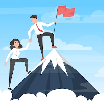 勝利に向かって動くビジネスチーム