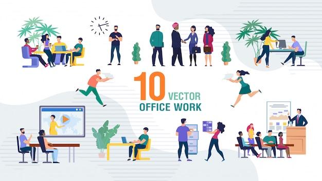 Business team office work flat scenes set