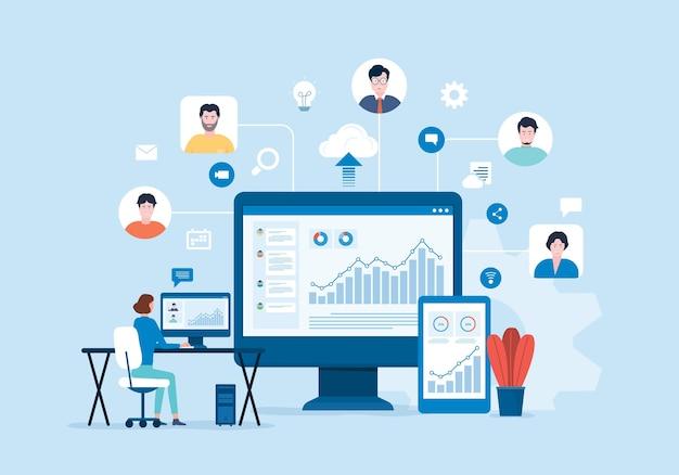 비즈니스 팀 온라인 화상 회의 개념
