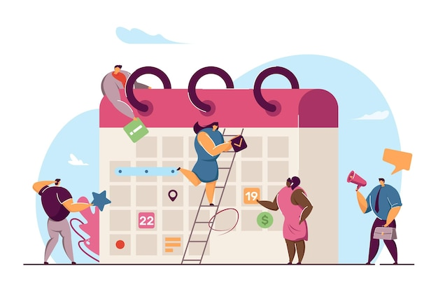 Business team planning events for month with giant calendar. flat vector illustration. office workers creating business schedule, defining aims. entrepreneurship, time management, campaign concept