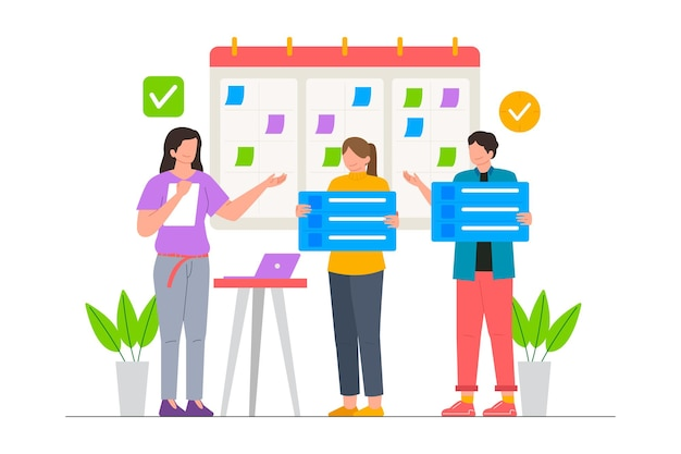 オフィスのベクトル図でのビジネスチームの計画スケジュール