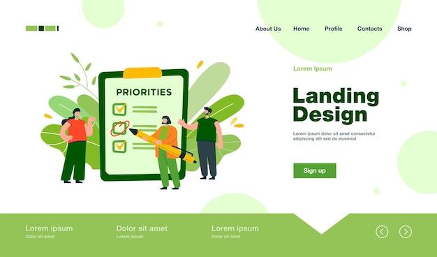 Lavoro di pianificazione del team aziendale, creazione di elenchi di attività, collaborazione, discussione della pagina di destinazione dei progressi in stile piatto
