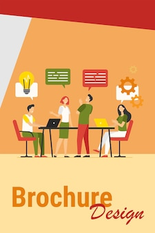 Illustrazione piana di vettore del processo di lavoro di pianificazione della squadra di affari. colleghi del fumetto parlando, condividendo pensieri e sorridendo nell'ufficio dell'azienda. concetto di lavoro di squadra e flusso di lavoro